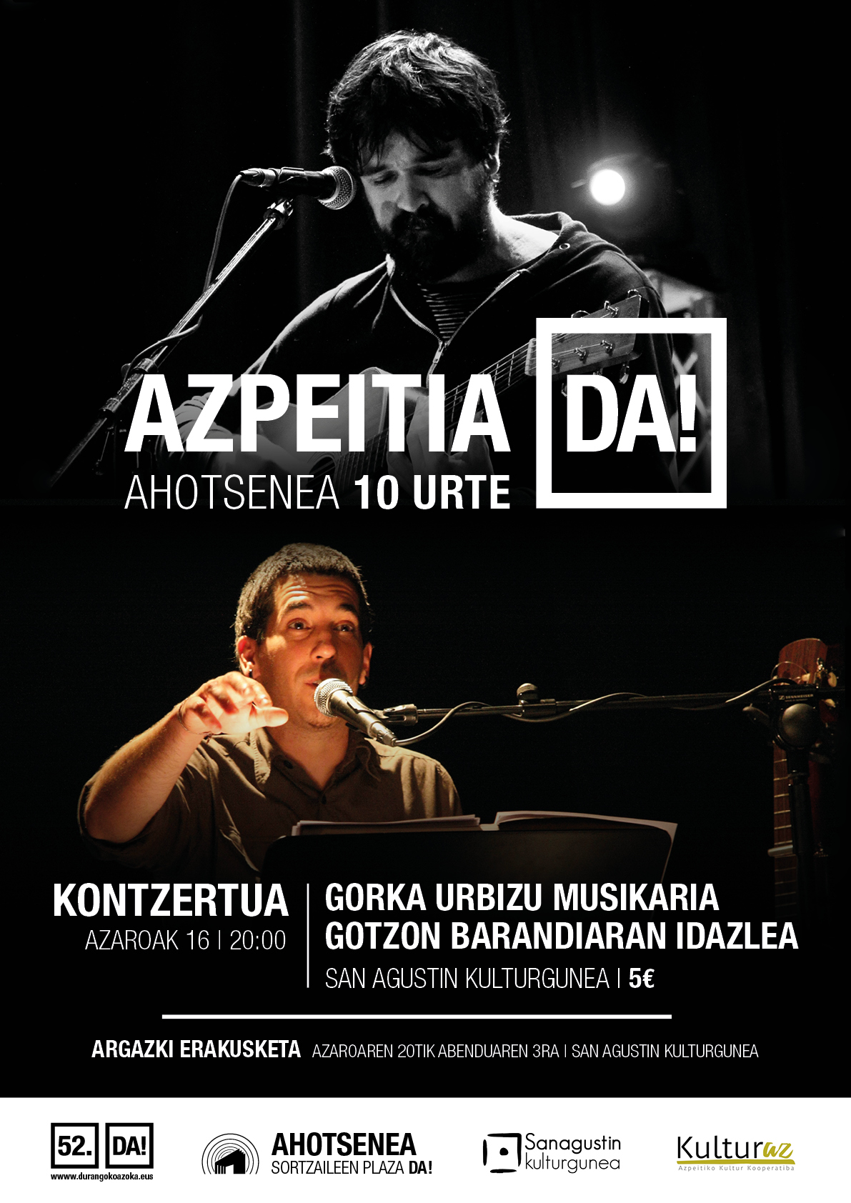 AzpeitiaDA!: Gorka Urbizu (Berri Txarrak) + Gotzon Barandiaran