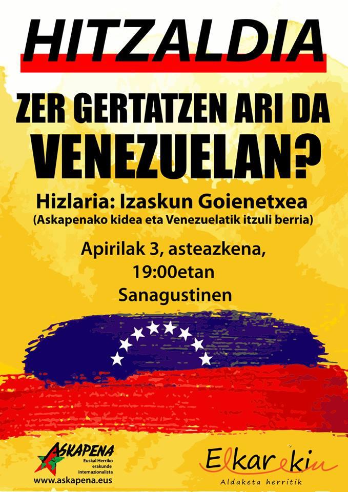 Hitzaldia: 'Zer ari da gertatzen Venezuelan?'